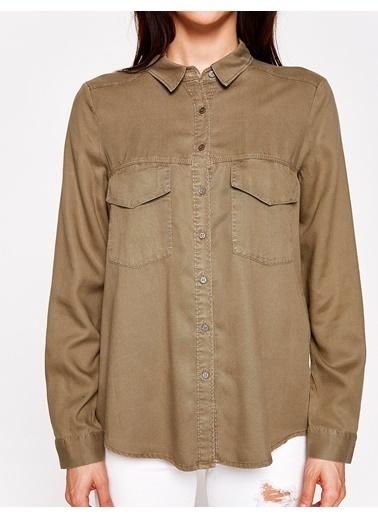 Cep Detaylı Uzun Kollu Gömlek-Koton